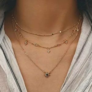 Free People 3 layer dainty star necklace